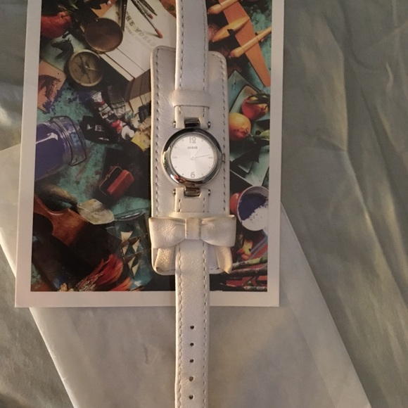 Guess white leather watch